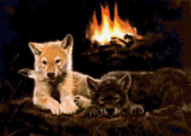 Волчата у костра, предпросмотр