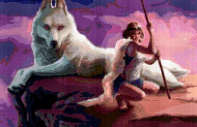 Девушка с волком, предпросмотр