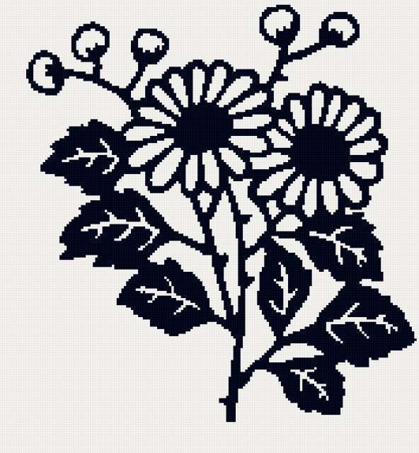 Схема для вышивки крестом цветы монохромные