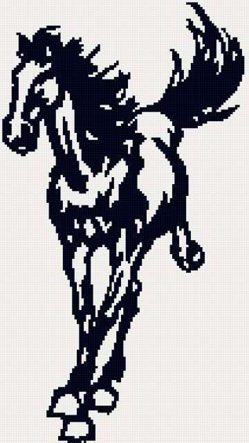 Схемы вышивки монохром лошадей