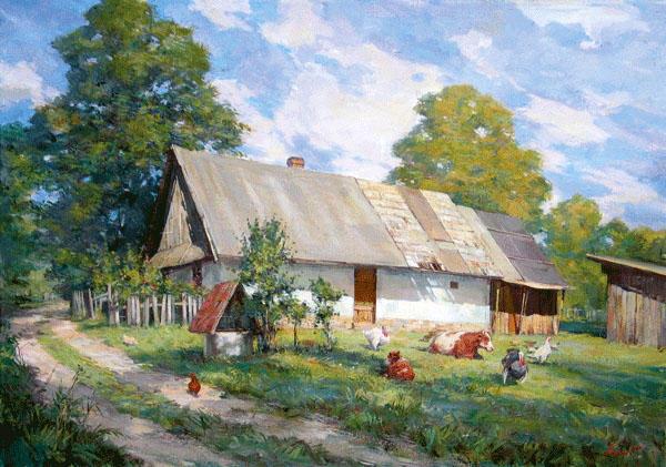 Сельский пейзаж, пейзаж, дома,