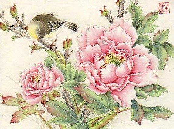 Пионы и птички, цветочное,