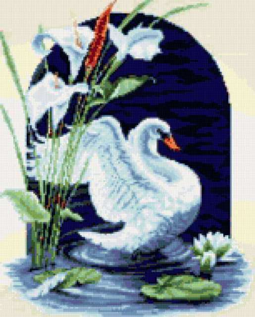 Белый лебедь в цветах,