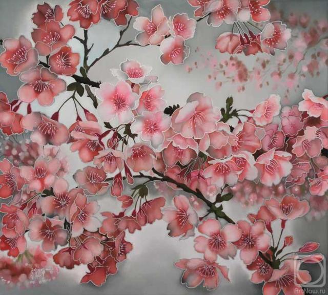 Яблоневый цвет.батик, оригинал