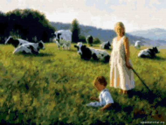 Дети на лугу, предпросмотр