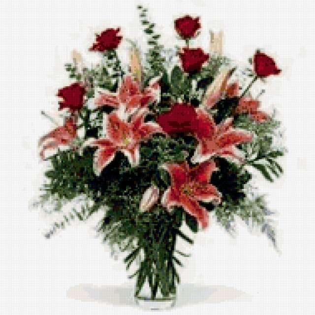 Лилии и розы в букете,