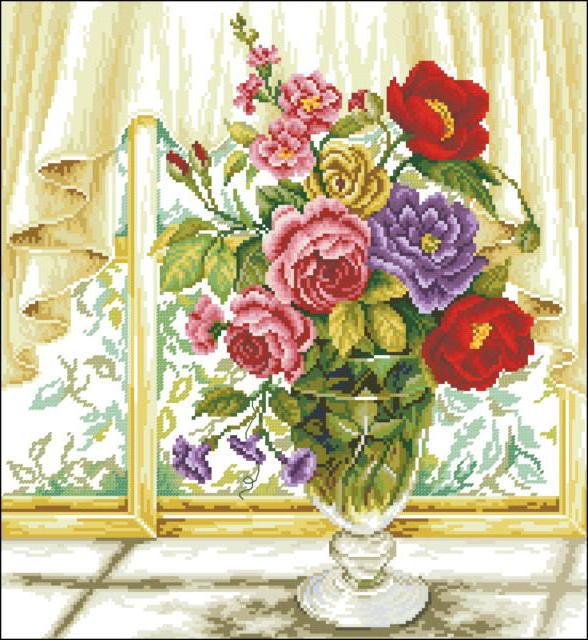 Букет на окне, буке, розы,