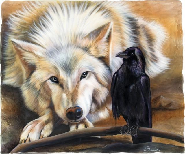 Волк и ворон, живопись,