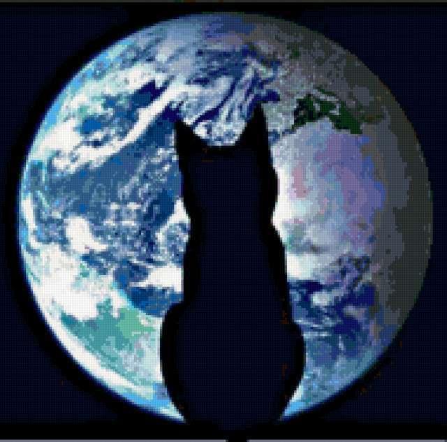 Силуэт кошки на фоне Земли,