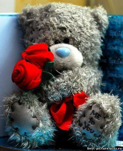 Мишка Тедди. Игрушка с розами,