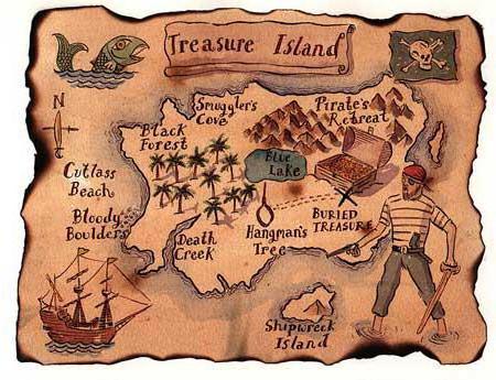 сокровища, карта, пираты,