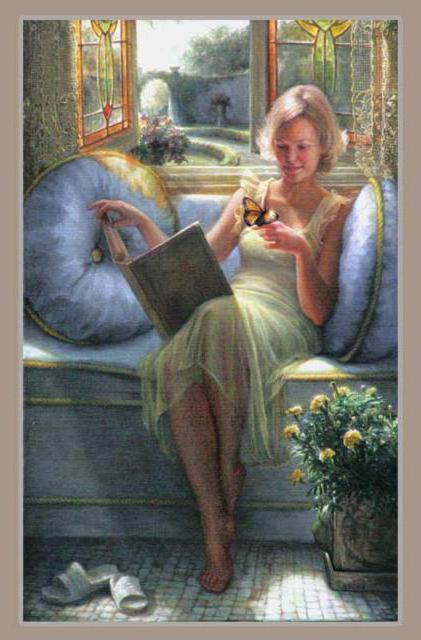 Чтение у окна, девушка,