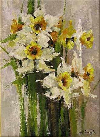 Нарцисы, живопись, цветы