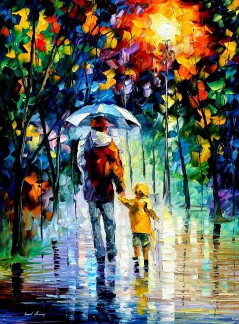 Прогулка под дождем, оригинал