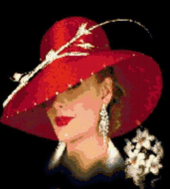 Дама в красной шляпе,