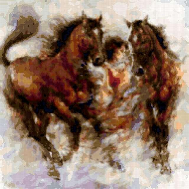 Девушка с лошадьми