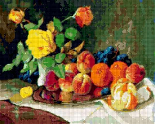 Персики с розами, предпросмотр