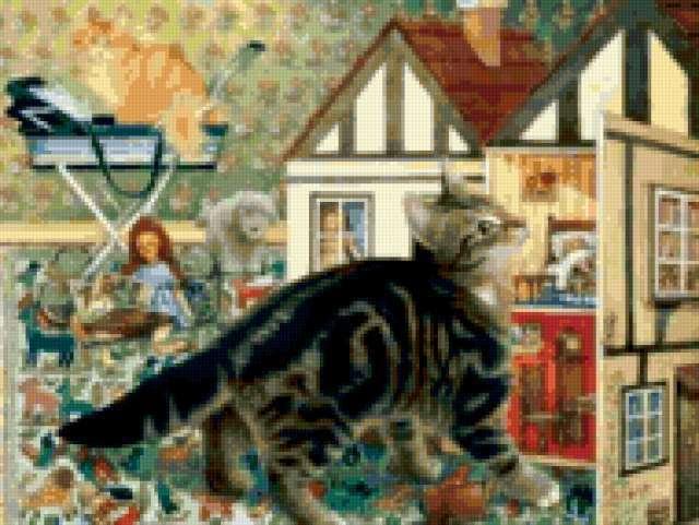 Котенок и кукольный дом,