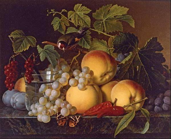 Персики с птичкой, оригинал