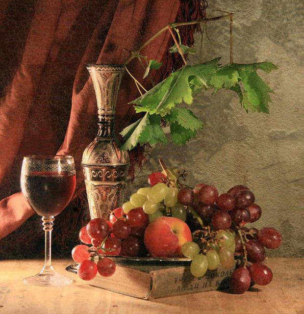 Персик с виноградом, персик,