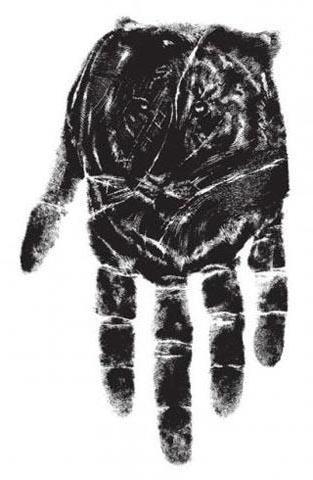 отпечаток, триптих, черно