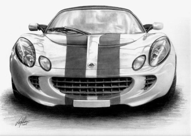 Авто, черно-белый рисунок,