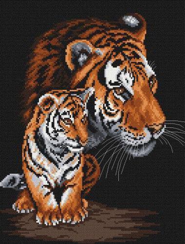 Тигр с тигренком, животное,