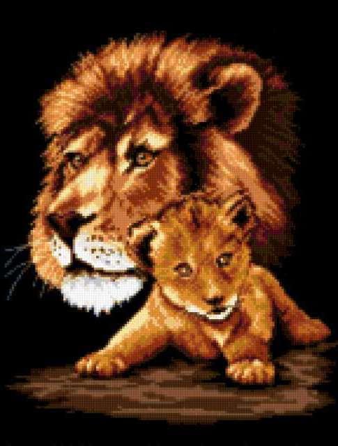 Лев с львенком, предпросмотр