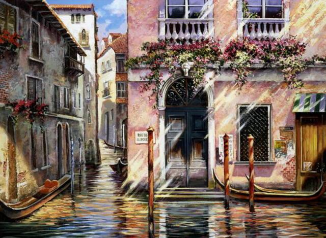 Тени Венеции, пейзаж, город,