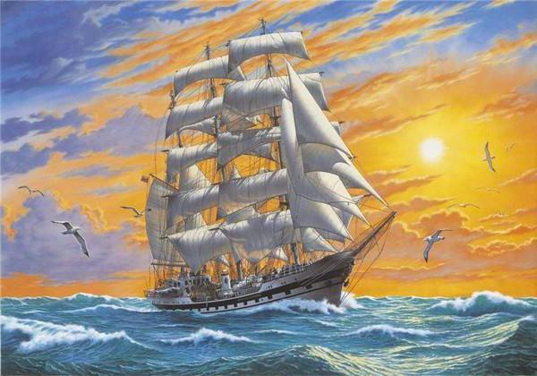 пейзаж, корабль, парусник