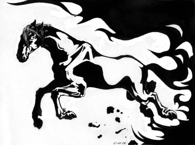 лошади, черно-белое