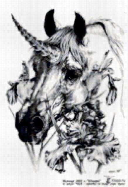 Единорог и ирисы, предпросмотр