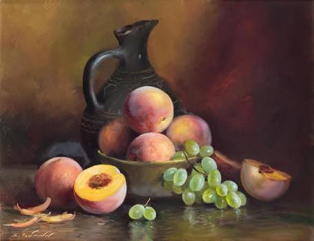 Персики в чашке, персики,