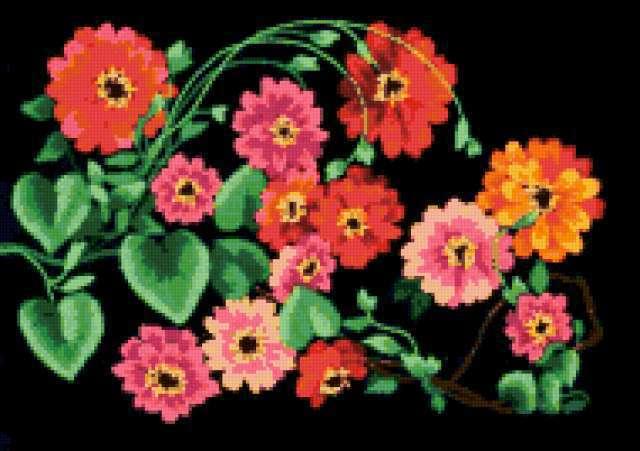 На черной канве, цветы