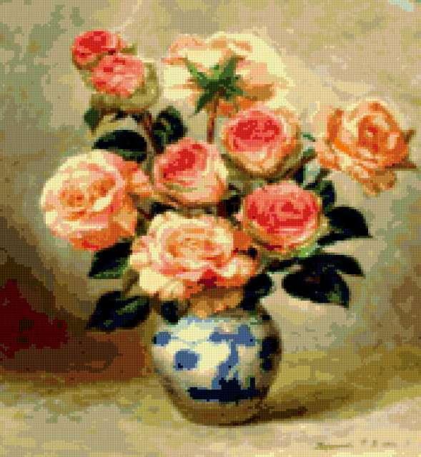 Розы в китайской вазе, цветы,