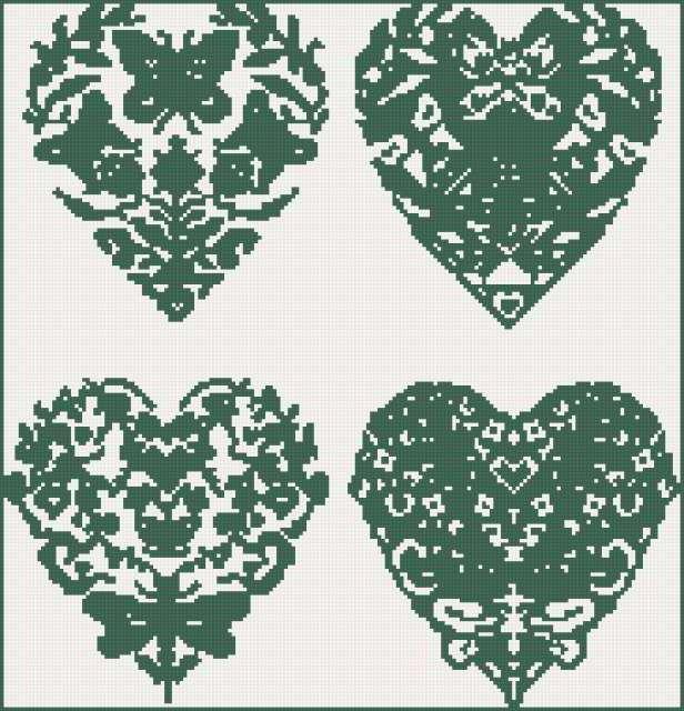 узор, сердце, двухцветная