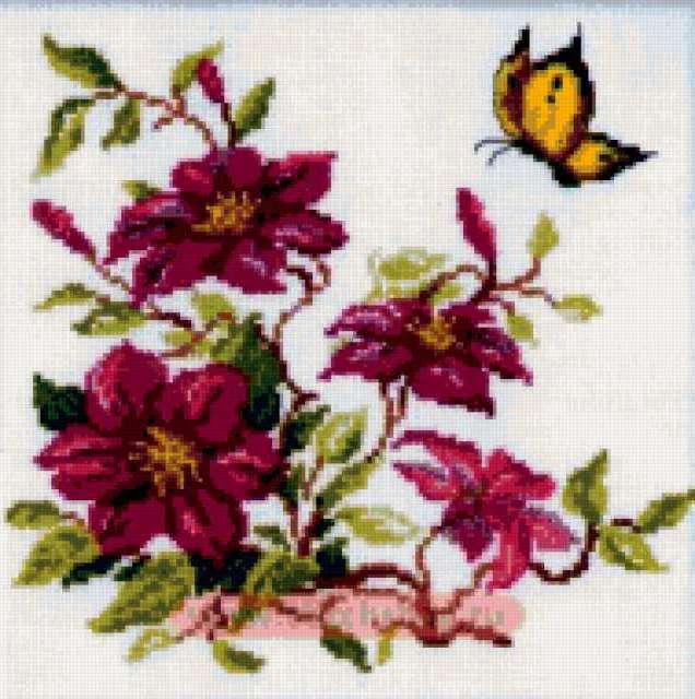 "Подушка ""цветы и бабочка"","