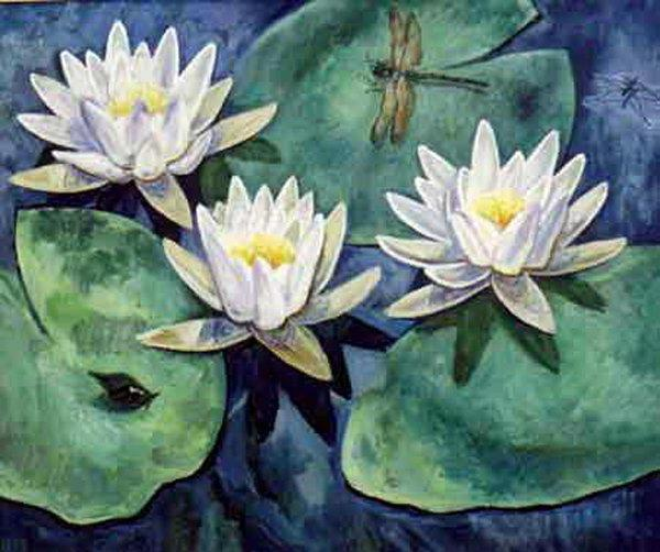 Кувшинки, живопись, цветы