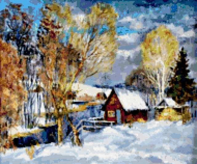 Деревня зимой, живопись