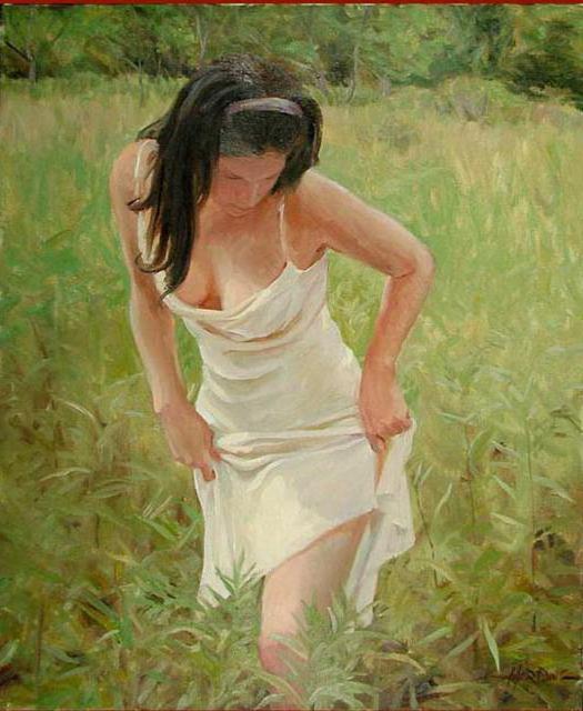 Девушка на лугу, оригинал
