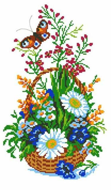 Цветы в корзинке, цветок,