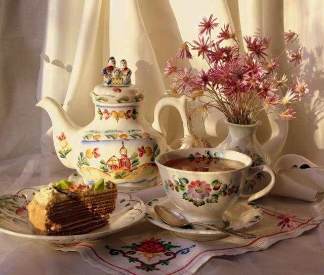 Чаепитие, натюрморт, цветы