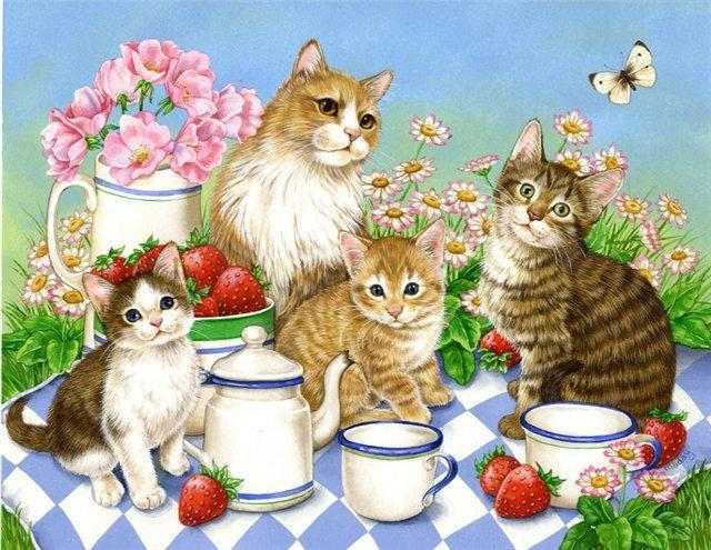 Котики пьют чай, оригинал