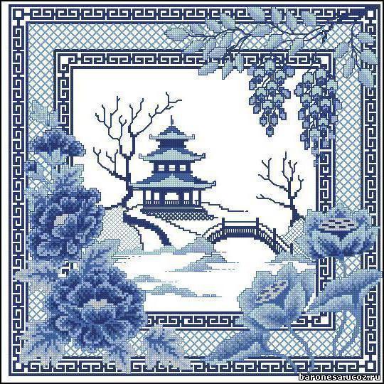Вышивка крестом на китайский мотив 650
