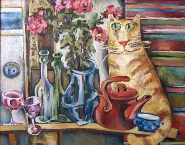 Чаепитие с рыжим котом,