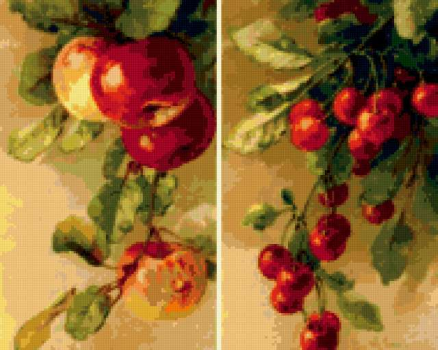 Яблоки и вишня, предпросмотр