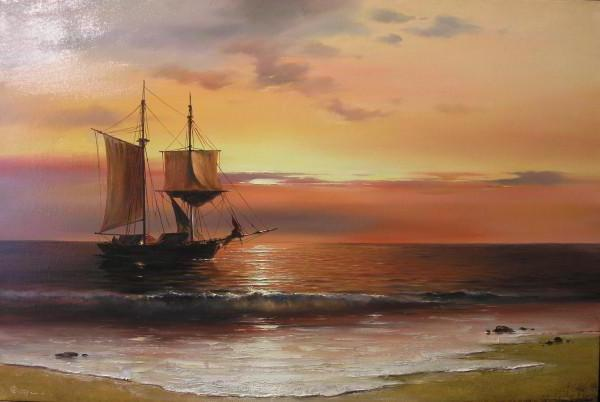 Закат на море, прибой, море,