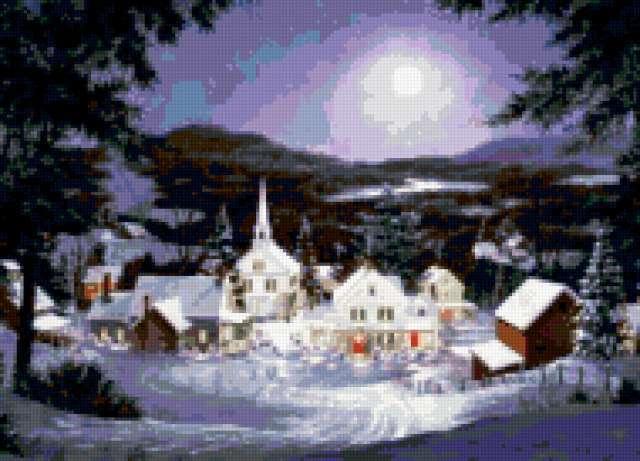 Зимняя ночь в деревне,