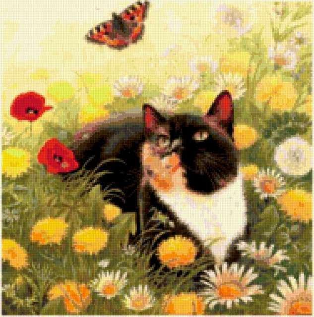 """Подушка """"Кот и бабочка"""","""