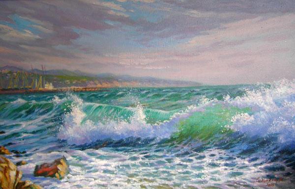 Бирюзовая волна, прибой, море,